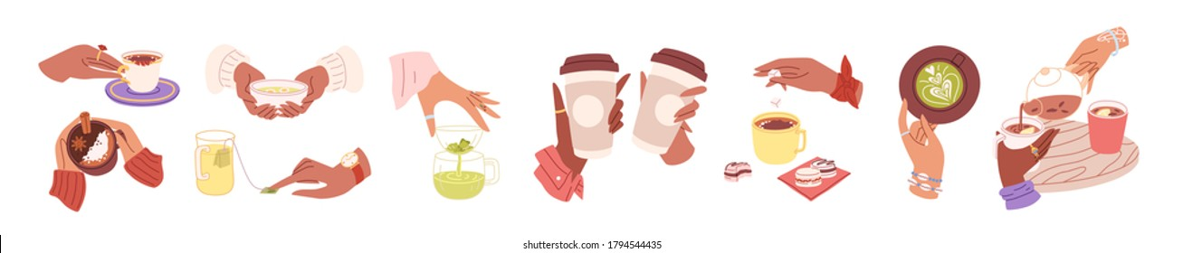 Collection of woman hands holding hot drinks and beverage. Brewing or pouring green and black or matcha tea, cacao, espresso coffee with sugar. Flat vector cartoon illustration isolated on white.