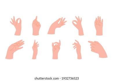 Collection of Woman Naturalistic Hands showing different gestures. Holding, forefinger sign and open palm pointing at something. Hand drawn flat vector elements illustration.