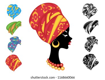 Collection. Woman's headdress, turban. Bright knitted color scarf. The girl is beautiful and stylish. Set of vector illustrations.