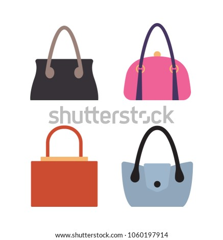 4b405883 Collection of women bags stylish accessories for females vector illustration  isolated on white. Leather handbags