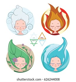 Collection of women depicting the four elements