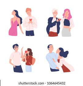 Collection of women and men trying to present their hearts to beloved one. Unrequited, one-sided or rejected love. Male and female cartoon characters isolated on white background. Vector illustration.