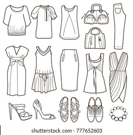collection of women's clothing (vector illustration)
