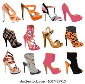 collection of women's shoes isolated on white background
