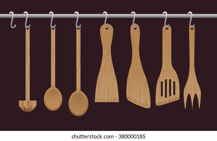 A collection of wooden kitchen utensils hanging on the chromed bar. Illustration