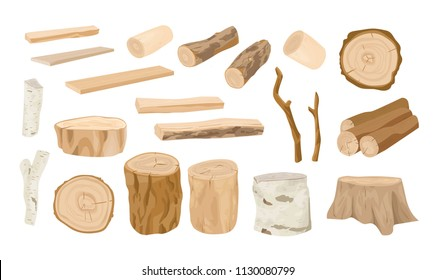 Collection of wooden logs, tree branches, lumbers, timber sawn into rough planks isolated on white background. Set of lumber and industrial wood. Colorful vector illustration in realistic style