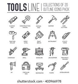 Collection of working tools icons items design. ?onstruction instruments with any elements set. Diy, building, work outline illustrations vector background. Process image on thin line style concept