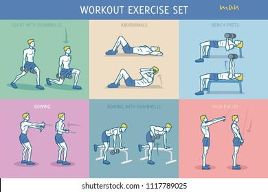A collection of Workout Exercise Routine performed by a young strong man.