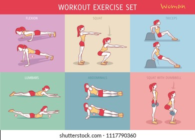 A collection of Workout Exercise Routine performed by a young woman.