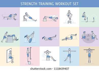 A collection of Workout Exercise Routine performed by a man and a woman in the gym, with equipment such as wall bars and vaulting horse. Simple characters like pictograms.