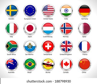 A collection of world badges with flags glossy button, countries flags badges - vector eps10