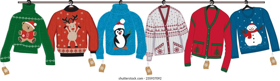 Collection of woven christmas sweaters hanging on shoulders isolated on white background