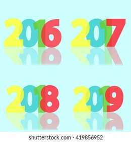 Collection year cards, holidays background, vector illustration
