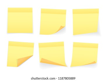 Collection of yellow colored sheets of note papers with curled corner and shadow, ready for your message. Realistic. Isolated on white background. Set. Vector illustration.