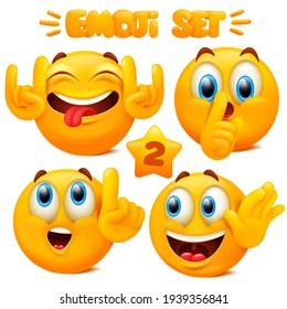 Collection of yellow emoji icons Emoticon cartoon character with different facial expressions in 3d style isolated in white background. Vector illustration