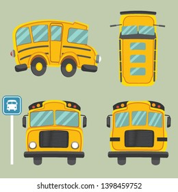 The collection of a yellow schoolbus. have front view and side view backview and top view of schoolbus. back to school poster.doodle car.  cute cartoon of schoolbus or yellow car flat vector style
