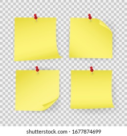 Collection yellow sticker pinned pushbutton with curled corner. Vector illustration. Isolated on white background.