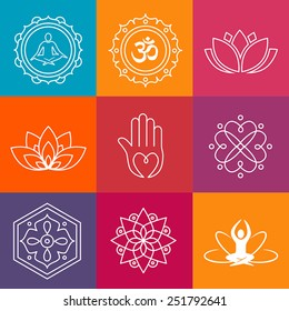 Collection of yoga icons and relaxation symbols.