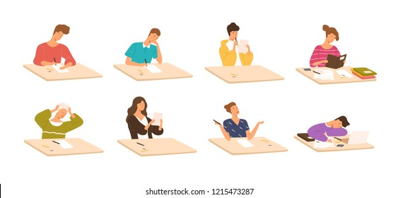 Collection of young boys and girls sitting at desks, reading books, writing school test, sleeping. Set of children or students preparing for exams. Colorful vector illustration in flat cartoon style.