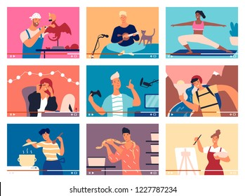 Collection of young men and women demonstrating their skills or teaching through internet. Bundle of video guides, DIY tutorials or webinars. Colorful vector illustration in flat cartoon style.