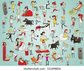Collection of young people having fun (isolated), dancing, drinking etc. Illustration is hand drawn, elements are isolated and is in eps10 vector mode.