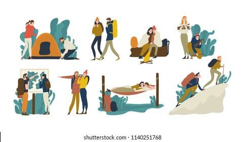 Collection of young romantic couples during hiking adventure travel or camping trip. Men and women pitching tent, lying in hammock, climbing mountain, backpacking. Flat colorful vector illustration.