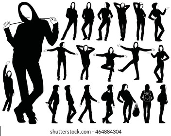 Collection of young woman vector silhouette in urban dress standing in different poses. Icons of slim girl in jeans and hooded jumper casual style walking on street. General people life style.