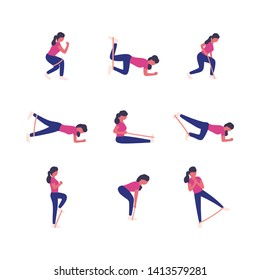 A collection of young women doing different exercises with resistance bands isolated on a light background. Colorful flat vector illustration.