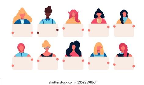 Collection of young women holding empty clean banners placards in hands. Set of portrait avatar with female of different races african american caucasian european. Vector illustration in flat style