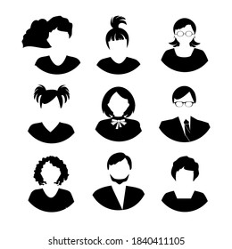 Collection of young women and men avatars made in flat style vector. Black siluettes. Different characters. Easy to use for social media or web site.