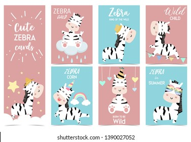 Collection of zebra party set with hat,cloud,star,rain,heart,flag