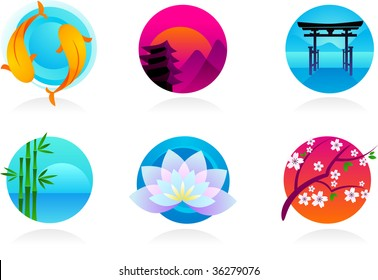 collection of Zen / Asian icons - vector illustration