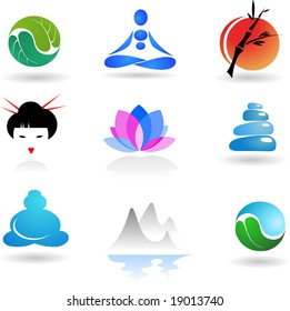 collection of Zen icons - vector illustration