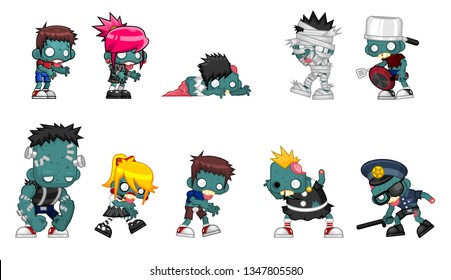 Collection of zombie character illustration for halloween and horror theme