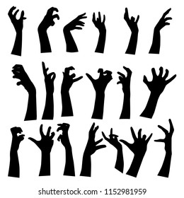Collection of zombie hands sticking out from the ground. Vector silhouettes of illustrations isolated on white. For Halloween party decor