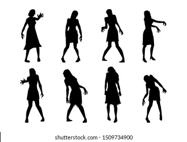 Collection of Zombie is Woman while standing and reaching hand action in Silhouette style. Full lenght of people resurrected for Halloween theme.