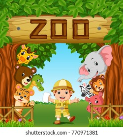 collection of zoo animals with zoo keeper