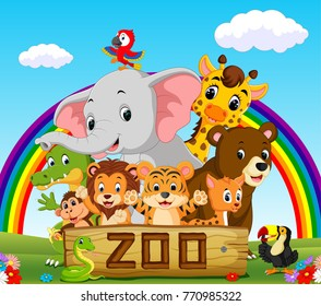 collection of zoo animals with rainbow