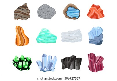 Collectionof semi precious gemstones vector stones and mineral colorful shiny jewelry material agate geology crystal isolated on white background.