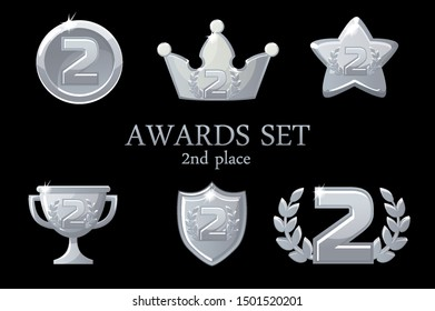 Collections Awards trophy. Silver awards icons set, 2nd place winner badge, trophy cup prize, win rewards, success crown, vector illustration