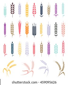 Collections of bakery design elements. Wheat ear icon set, leaves icons, graphic design elements, isolated on white background, vector illustration.