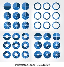 Collections of different circular charts with different dimensions for infographics