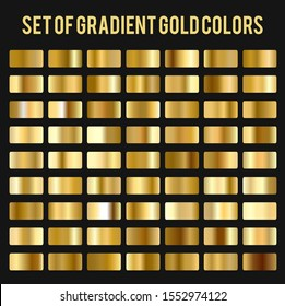 Collections of Gold Foil Texture Background Design Template. Vector Golden, Copper, Brass and Metallic Gradient. - Vector