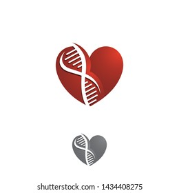 Collections of Heart with DNA helix shape vector. Science, love and biotechnology themes design