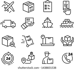 Collections of icons representing shipping, logistics, customer service, refunds and more