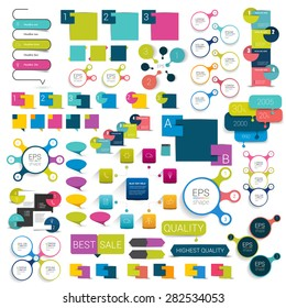 Collections of info graphics flat design diagrams. Various color schemes, boxes, speech bubbles for print or web design. Vector illustration.