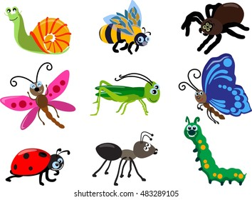 Collections of insects: butterfly, dragonfly, snail, spider, ladybug, ant, caterpillar, grasshopper, bee. Set of different types of insects isolated on white background in flat style. Vector.