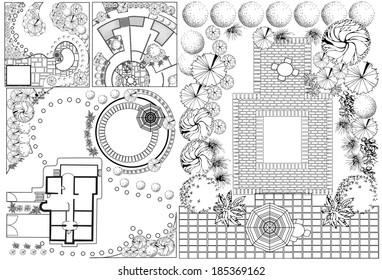 Kollektionen des Landschaftsplans mit Baumkurren-Symbolen in Schwarz-Weiß