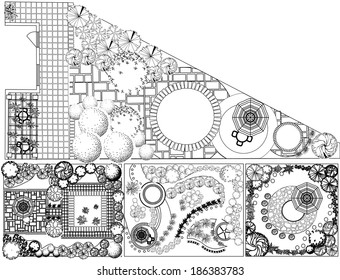 Collections od  Landscape Plan with treetop symbols black and white