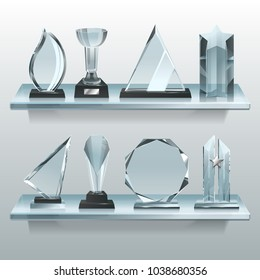 Collections of transparent trophies, awards and winner cups on shelf of glass. Trophy and award prize, sport cup transparent realistic, vector illustration